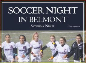 Soccer Night in Belmont Lawn Sign